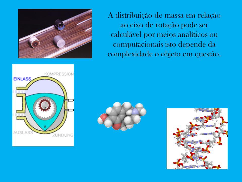 A distribuição de massa em relação ao eixo de rotação pode ser calculável por meios analíticos ou computacionais isto depende da complexidade o objeto em questão.