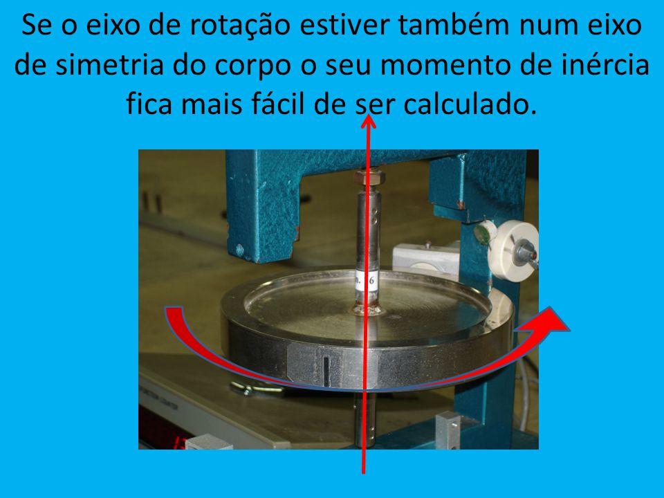 Se o eixo de rotação estiver também num eixo de simetria do corpo o seu momento de inércia fica mais fácil de ser calculado.