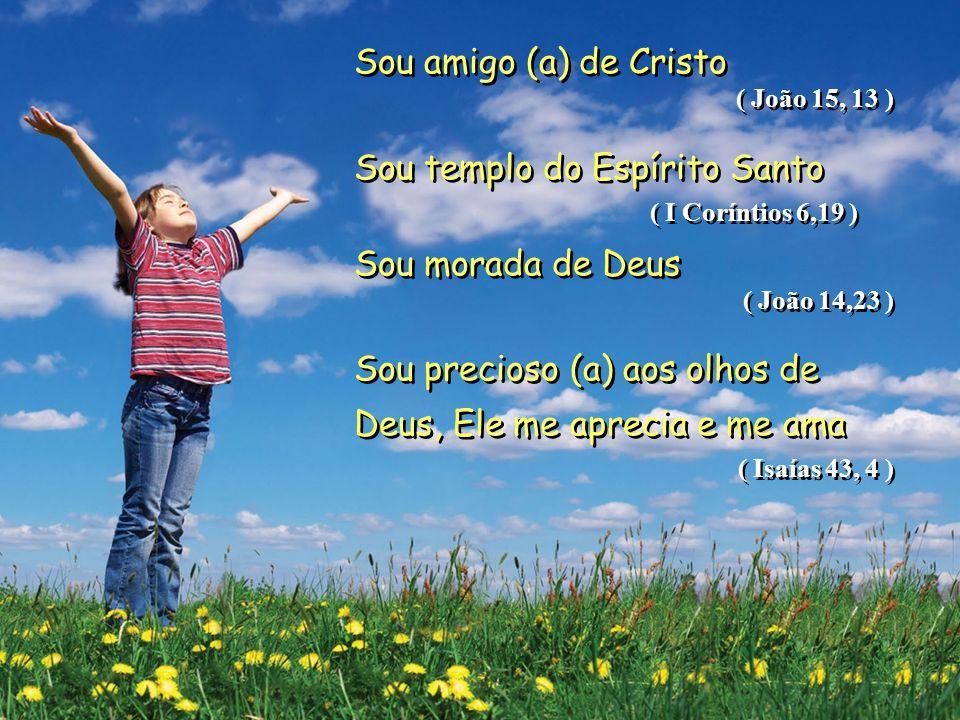 Sou templo do Espírito Santo ( I Coríntios 6,19 ) Sou morada de Deus