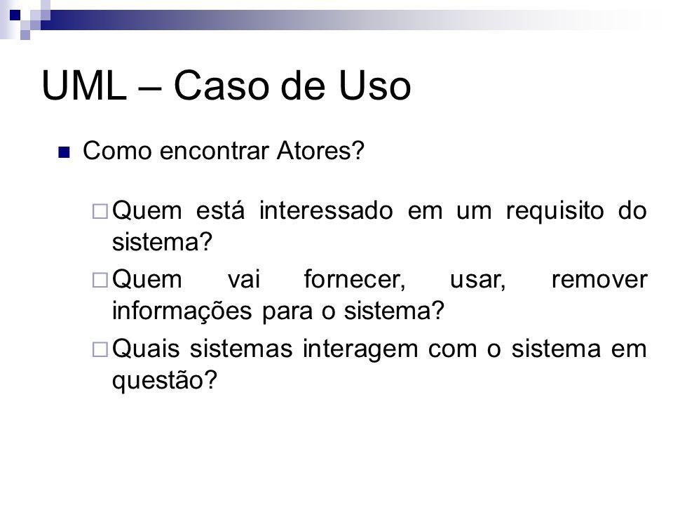 UML – Caso de Uso Como encontrar Atores