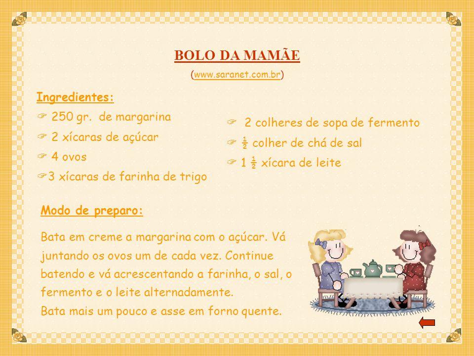 BOLO DA MAMÃE Ingredientes: 250 gr. de margarina 2 xícaras de açúcar