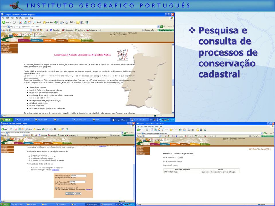 Pesquisa e consulta de processos de conservação cadastral