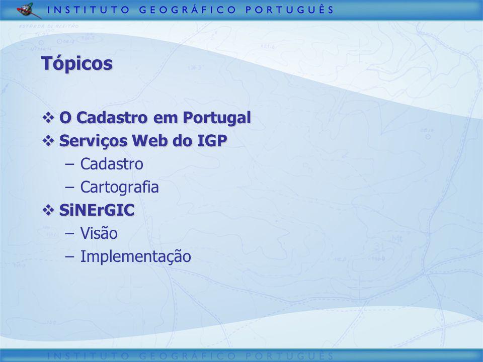 Tópicos O Cadastro em Portugal Serviços Web do IGP Cadastro