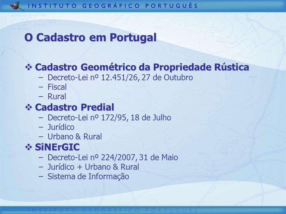 O Cadastro em Portugal Cadastro Geométrico da Propriedade Rústica