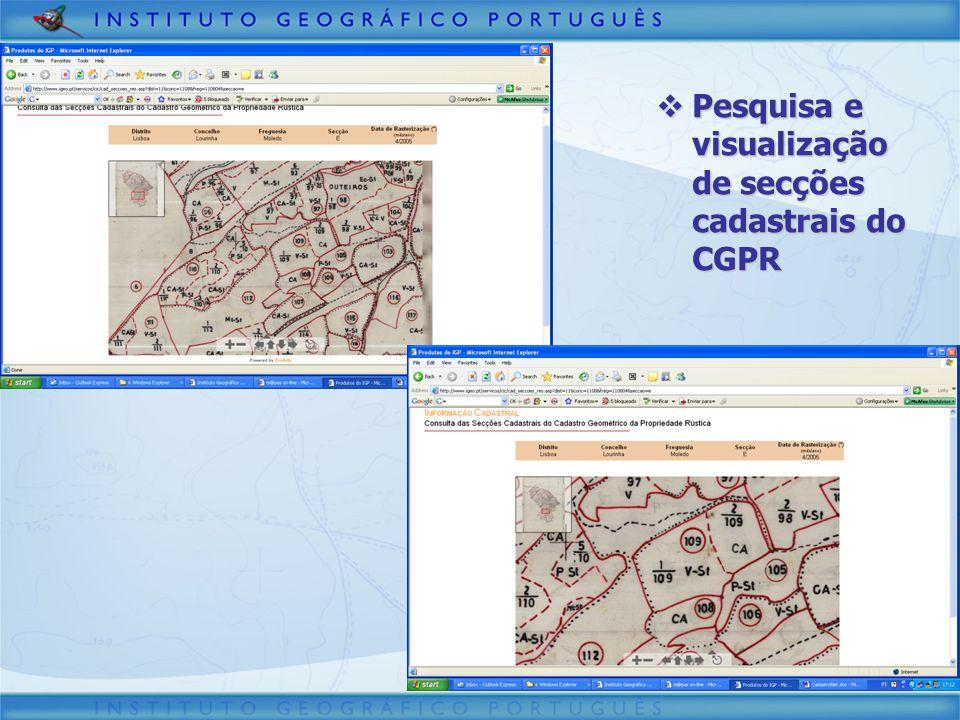 Pesquisa e visualização de secções cadastrais do CGPR