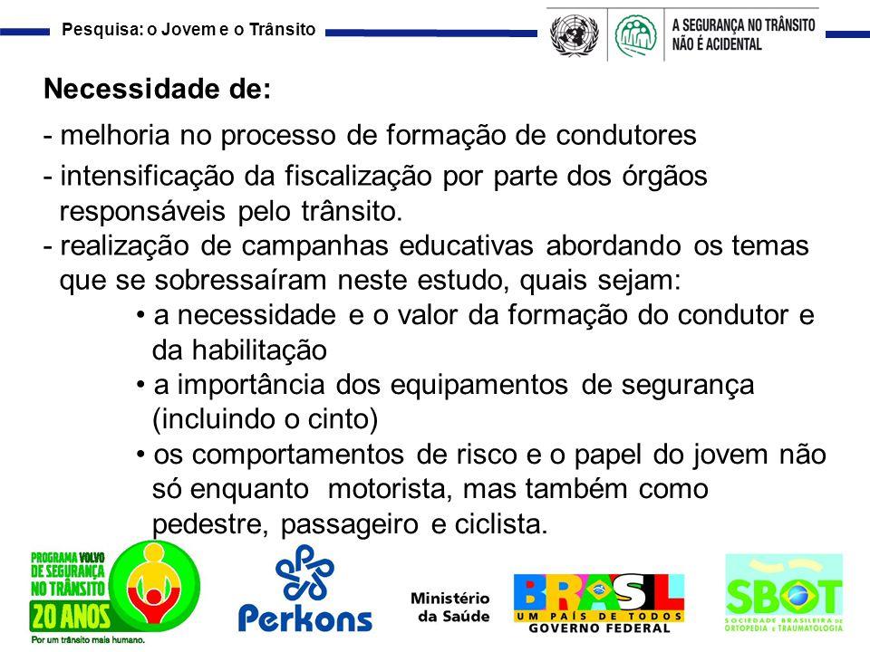 Necessidade de: - melhoria no processo de formação de condutores. - intensificação da fiscalização por parte dos órgãos.