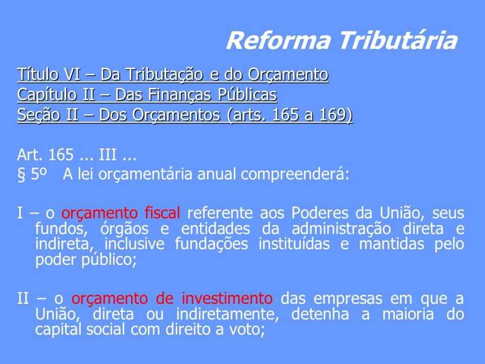 Reforma Tributária Título VI – Da Tributação e do Orçamento