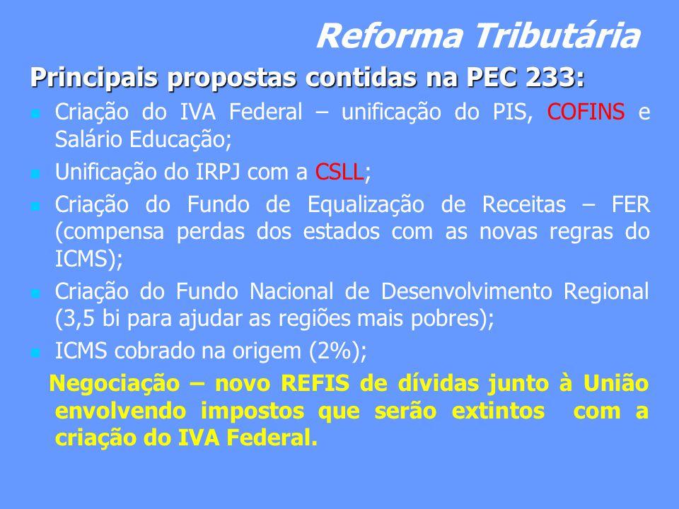 Reforma Tributária Principais propostas contidas na PEC 233: