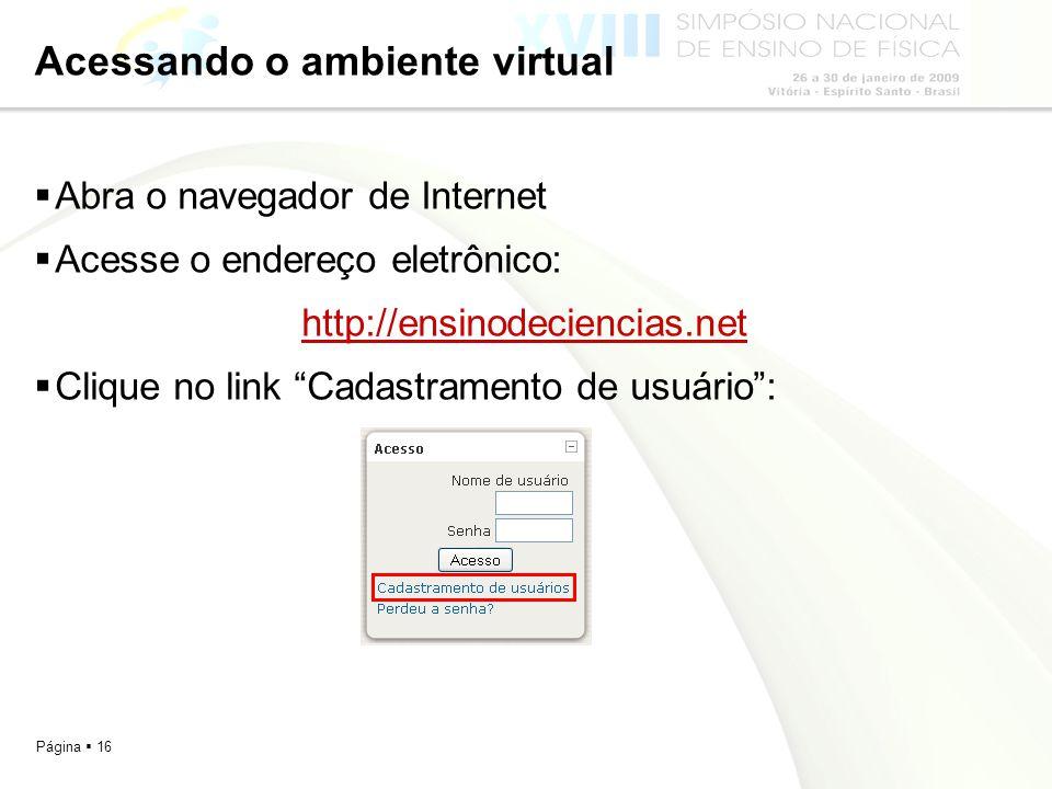 Acessando o ambiente virtual