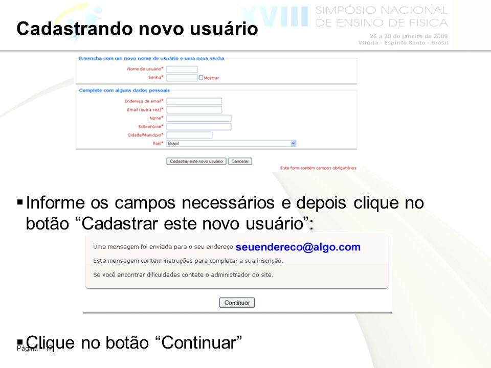 Cadastrando novo usuário