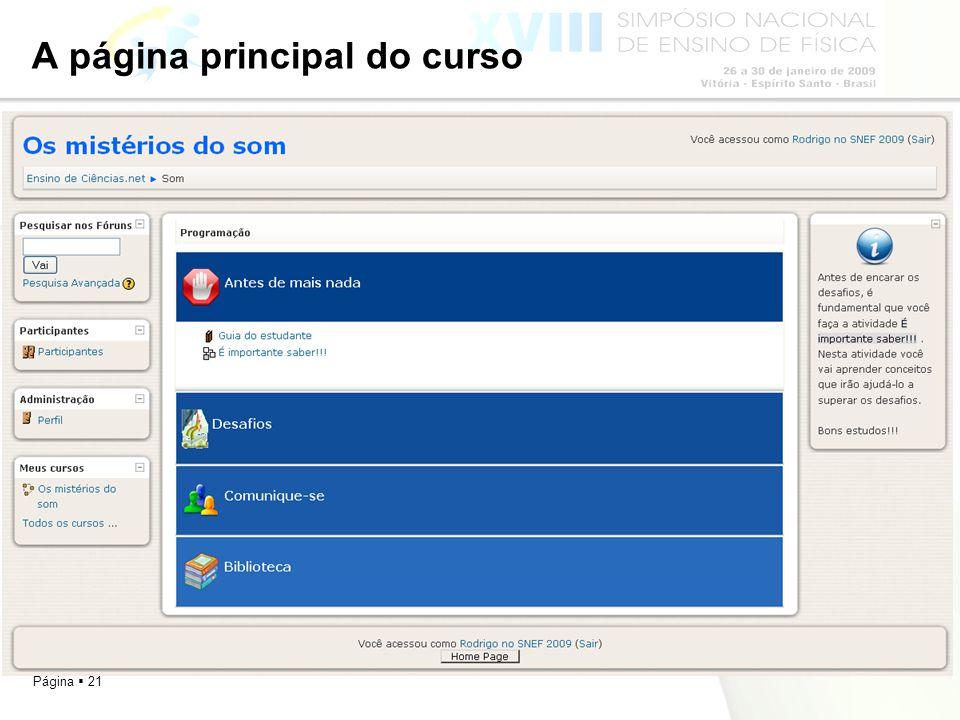 A página principal do curso