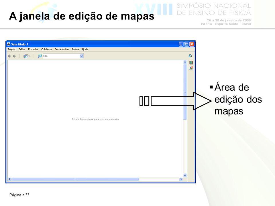 A janela de edição de mapas