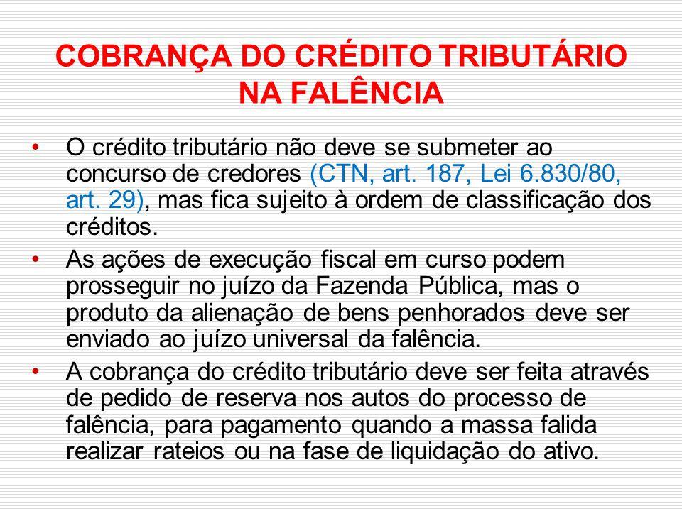 COBRANÇA DO CRÉDITO TRIBUTÁRIO NA FALÊNCIA
