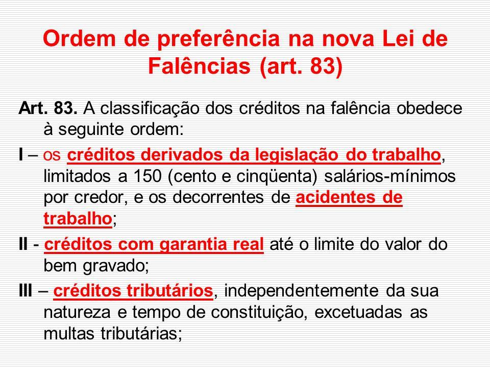 Ordem de preferência na nova Lei de Falências (art. 83)