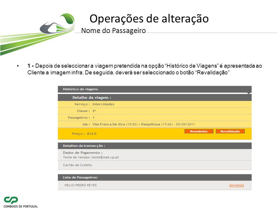Operações de alteração Nome do Passageiro