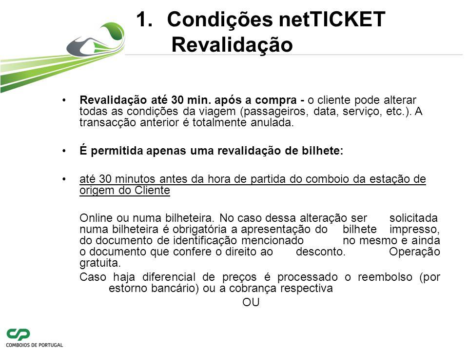 Condições netTICKET Revalidação