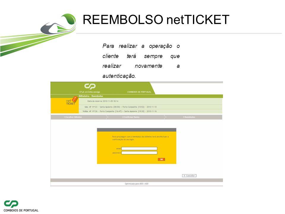 REEMBOLSO netTICKET Para realizar a operação o cliente terá sempre que realizar novamente a autenticação.