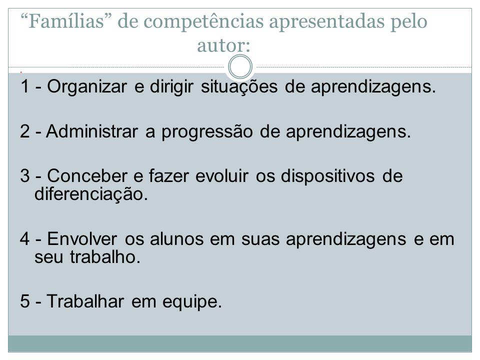 Famílias de competências apresentadas pelo autor: