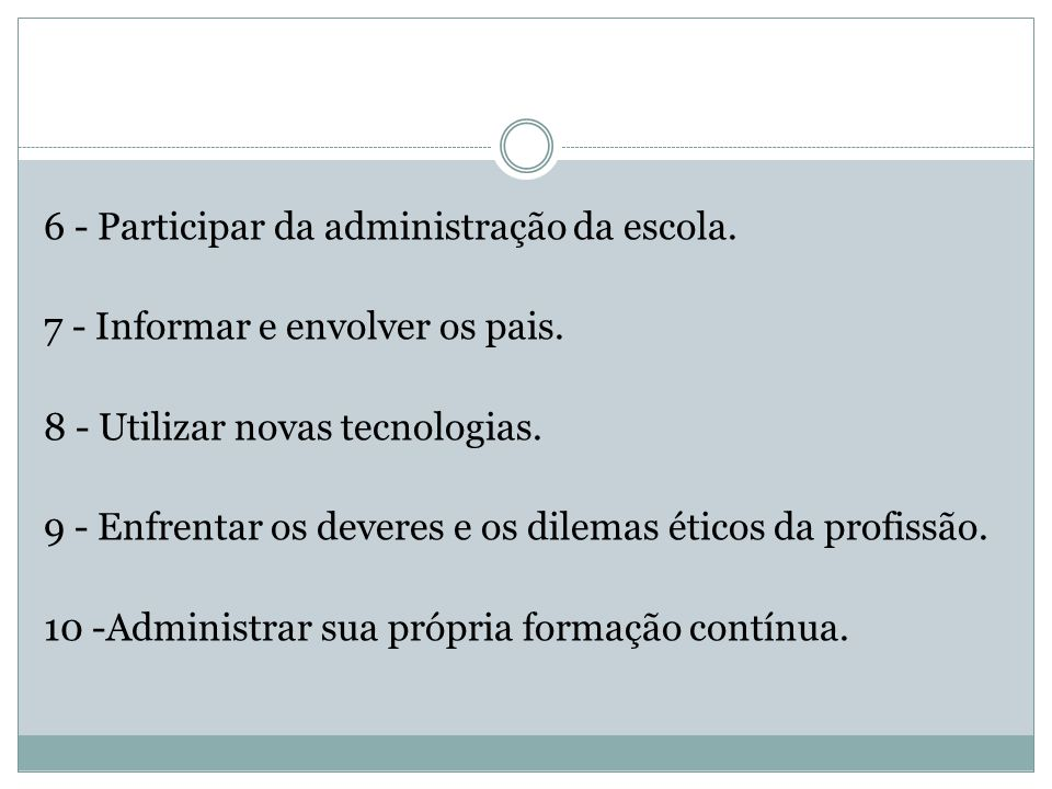 6 - Participar da administração da escola.