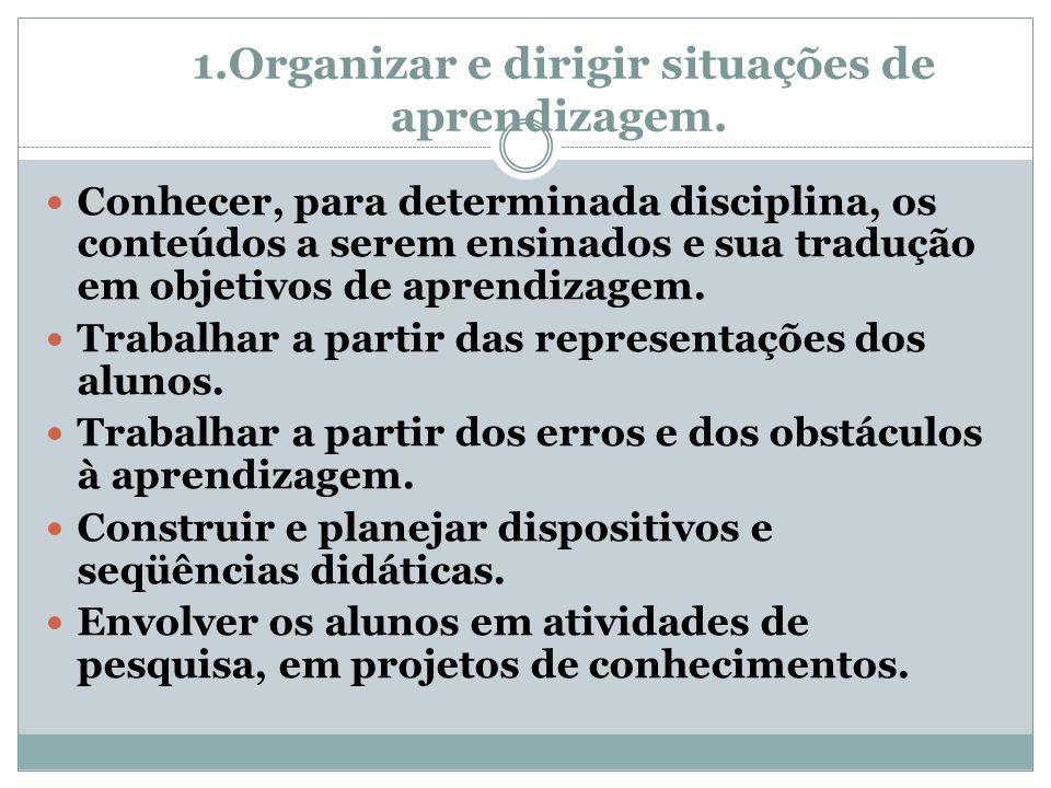 1.Organizar e dirigir situações de aprendizagem.