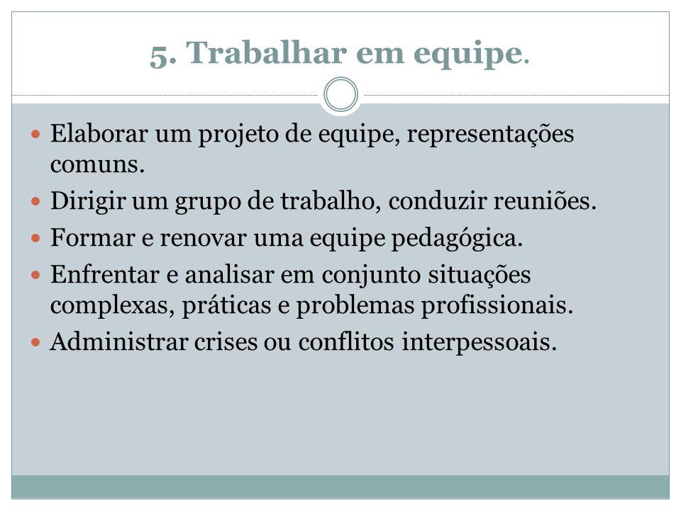 5. Trabalhar em equipe. Elaborar um projeto de equipe, representações comuns. Dirigir um grupo de trabalho, conduzir reuniões.