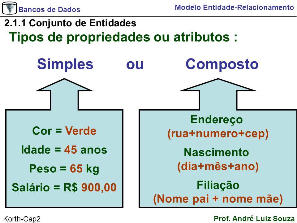 Simples ou Composto Tipos de propriedades ou atributos : Endereço