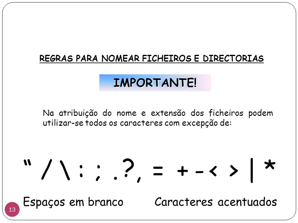 REGRAS PARA NOMEAR FICHEIROS E DIRECTORIAS