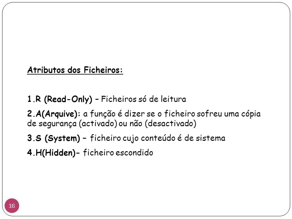 Atributos dos Ficheiros:
