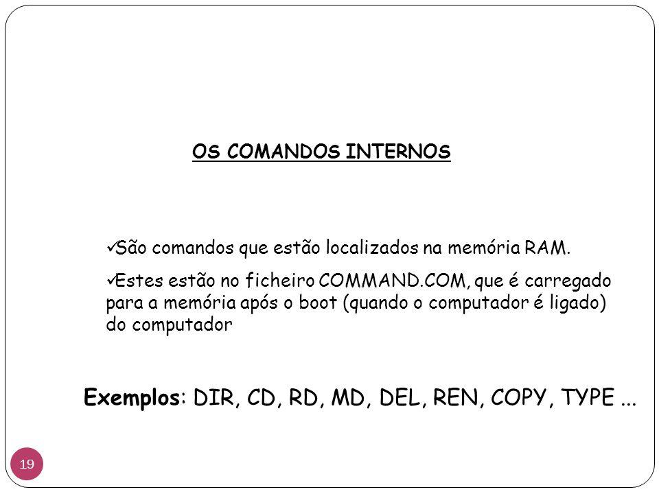 Exemplos: DIR, CD, RD, MD, DEL, REN, COPY, TYPE ...