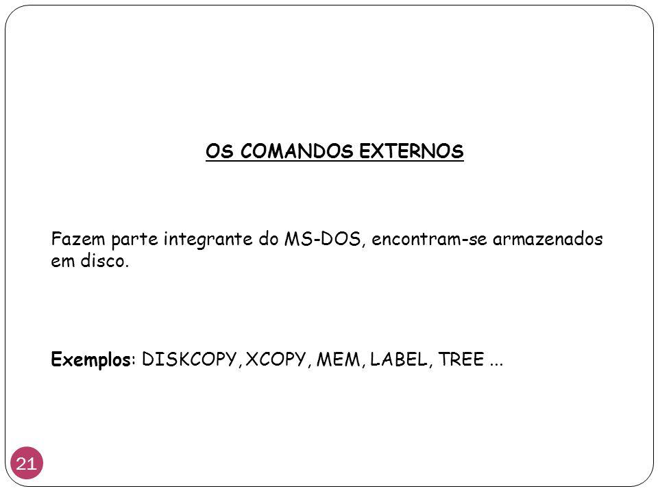 OS COMANDOS EXTERNOS Fazem parte integrante do MS-DOS, encontram-se armazenados em disco.