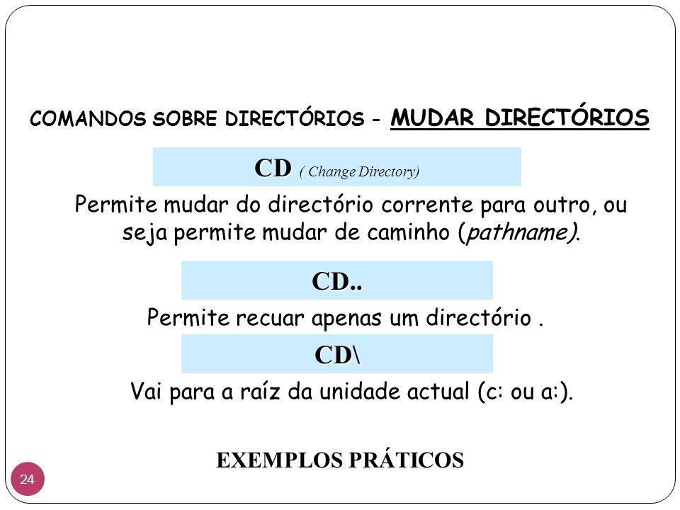 COMANDOS SOBRE DIRECTÓRIOS - MUDAR DIRECTÓRIOS