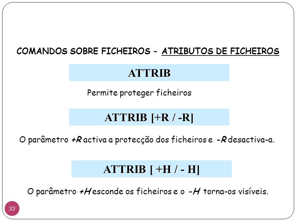COMANDOS SOBRE FICHEIROS - ATRIBUTOS DE FICHEIROS
