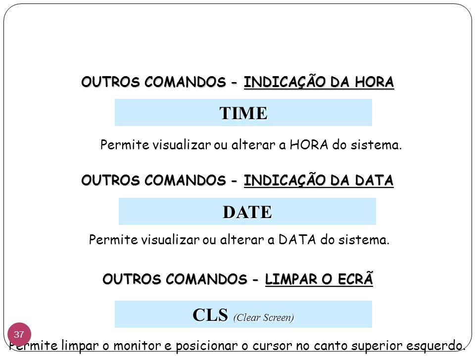 TIME DATE CLS (Clear Screen) OUTROS COMANDOS - INDICAÇÃO DA HORA