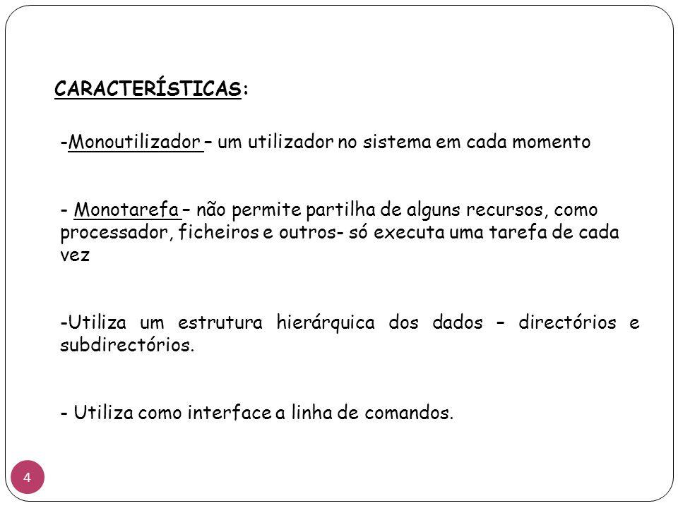 CARACTERÍSTICAS: Monoutilizador – um utilizador no sistema em cada momento.