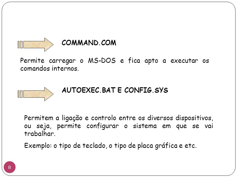 COMMAND.COM Permite carregar o MS-DOS e fica apto a executar os comandos internos. AUTOEXEC.BAT E CONFIG.SYS.