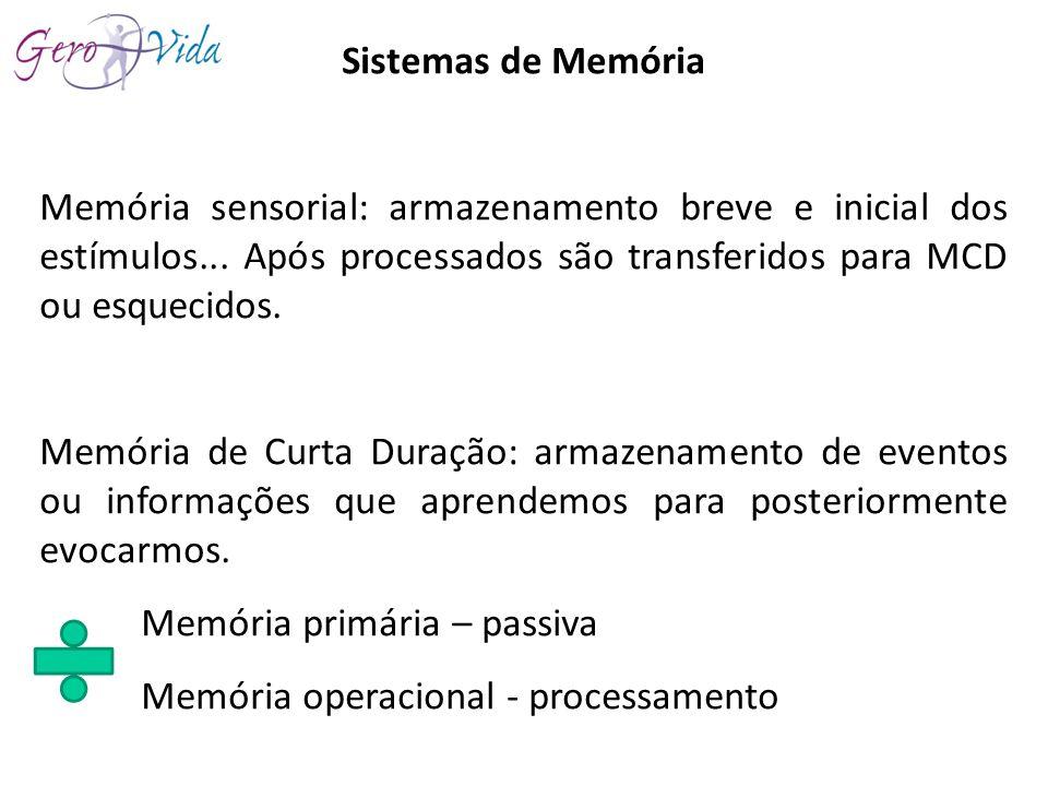 Sistemas de Memória Memória sensorial: armazenamento breve e inicial dos estímulos... Após processados são transferidos para MCD ou esquecidos.