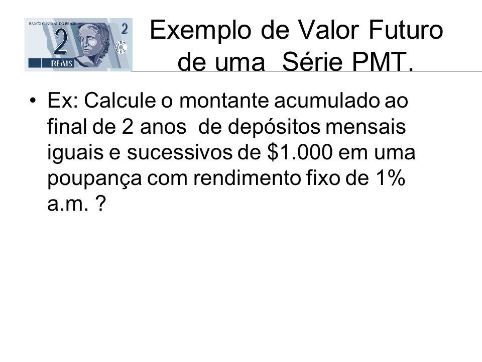 Exemplo de Valor Futuro de uma Série PMT.