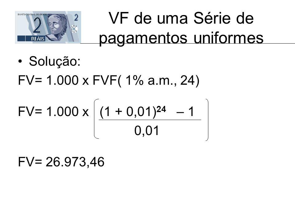 VF de uma Série de pagamentos uniformes