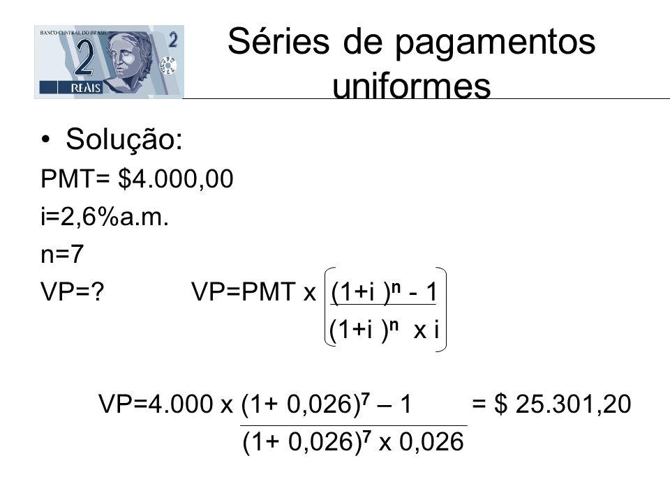 Séries de pagamentos uniformes