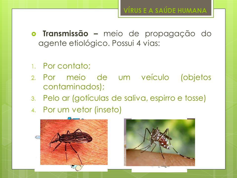 Transmissão – meio de propagação do agente etiológico. Possui 4 vias: