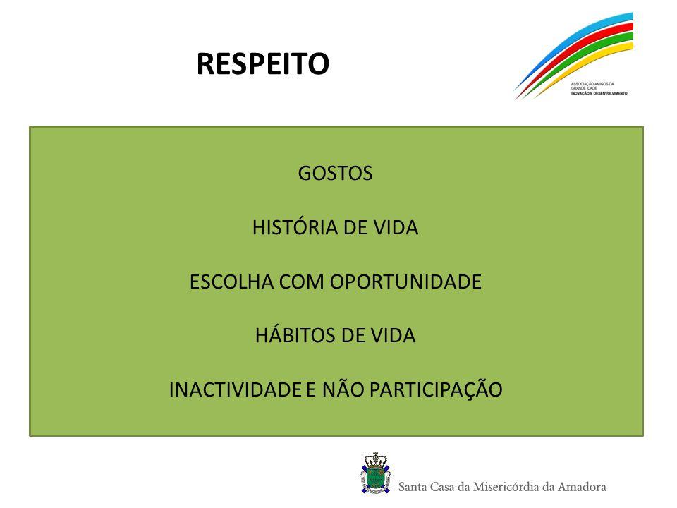 RESPEITO GOSTOS HISTÓRIA DE VIDA ESCOLHA COM OPORTUNIDADE