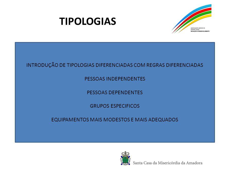 TIPOLOGIAS INTRODUÇÃO DE TIPOLOGIAS DIFERENCIADAS COM REGRAS DIFERENCIADAS. PESSOAS INDEPENDENTES.