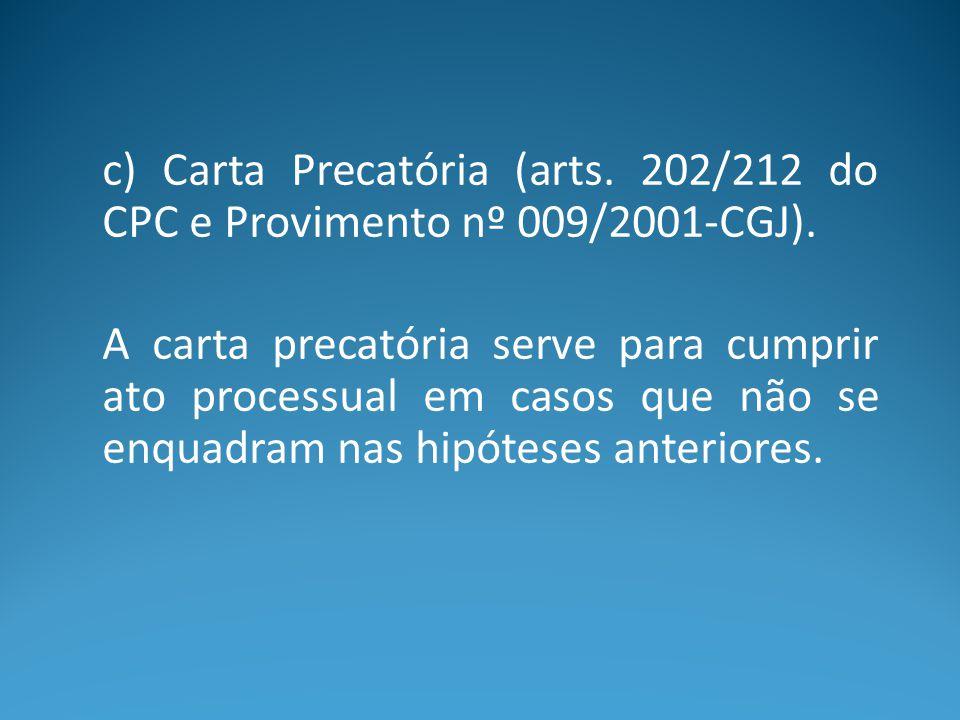 c) Carta Precatória (arts. 202/212 do CPC e Provimento nº 009/2001-CGJ).
