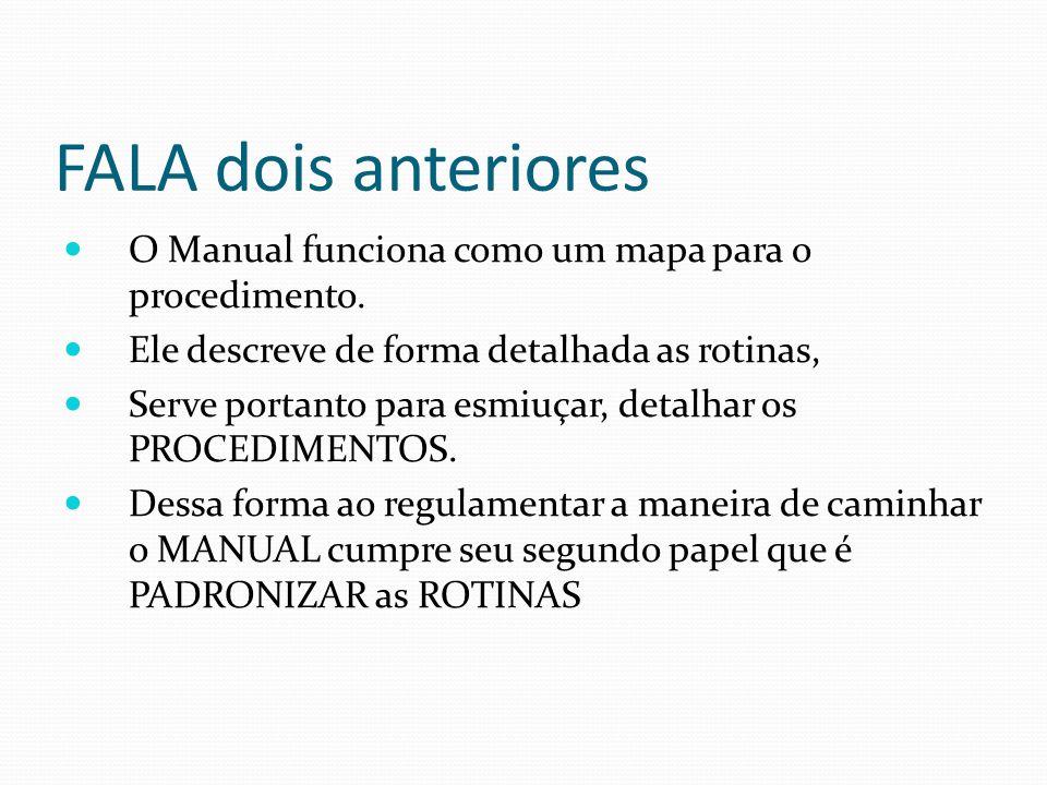 FALA dois anteriores O Manual funciona como um mapa para o procedimento. Ele descreve de forma detalhada as rotinas,
