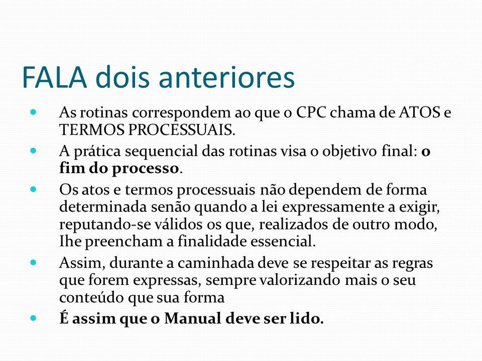 FALA dois anteriores As rotinas correspondem ao que o CPC chama de ATOS e TERMOS PROCESSUAIS.