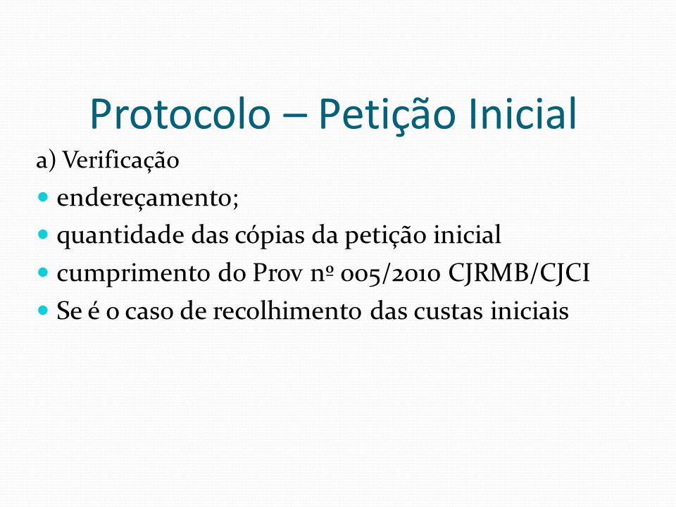 Protocolo – Petição Inicial