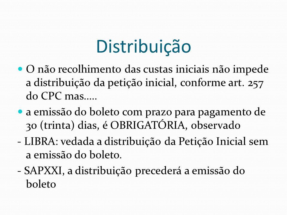 Distribuição O não recolhimento das custas iniciais não impede a distribuição da petição inicial, conforme art. 257 do CPC mas.....