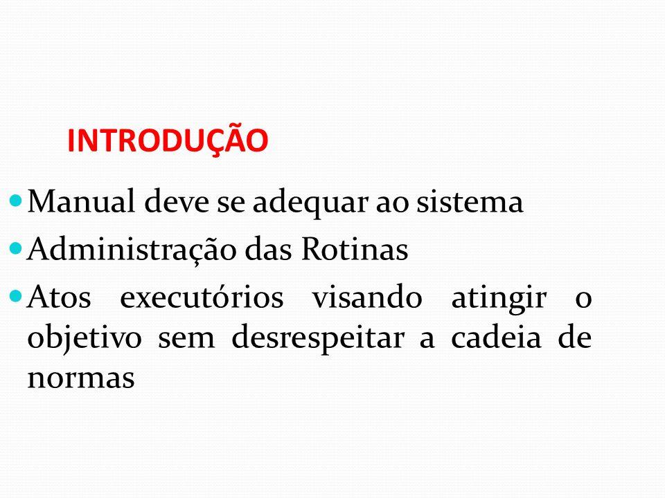 INTRODUÇÃO Manual deve se adequar ao sistema Administração das Rotinas