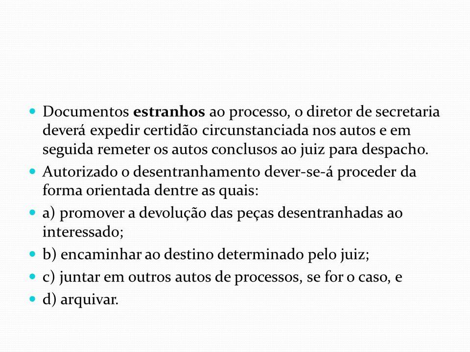 Documentos estranhos ao processo, o diretor de secretaria deverá expedir certidão circunstanciada nos autos e em seguida remeter os autos conclusos ao juiz para despacho.