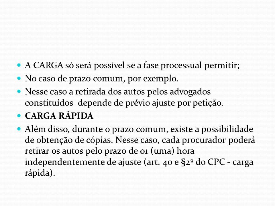 A CARGA só será possível se a fase processual permitir;